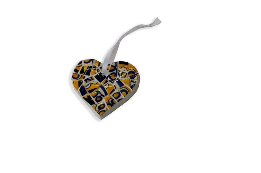 Muriel Bigot MB Mosaïques coeur jaune et bleu