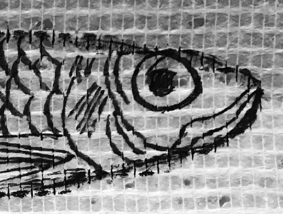 détail sur la tête de la sardinecréation Christine Jegaden