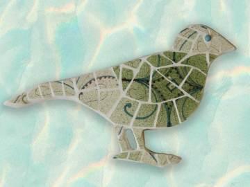 oiseau en mosaïque vert
