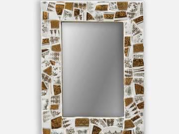 Miroir porcelaine blanche et dorée