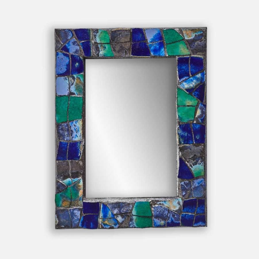 Miroir céramiques bleues et vertes