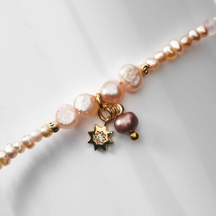 bracelet enfant en perles de cristal rose