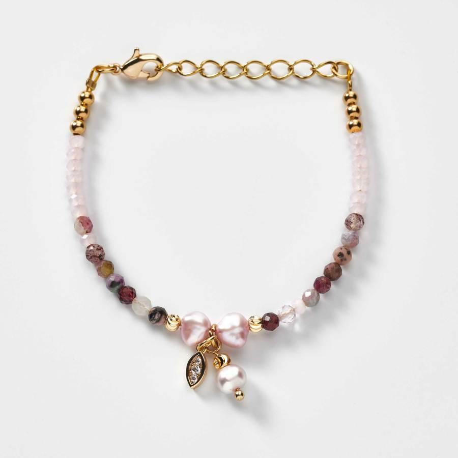 Bracelet enfant en perles de culture d'eau douce et breloque et strass