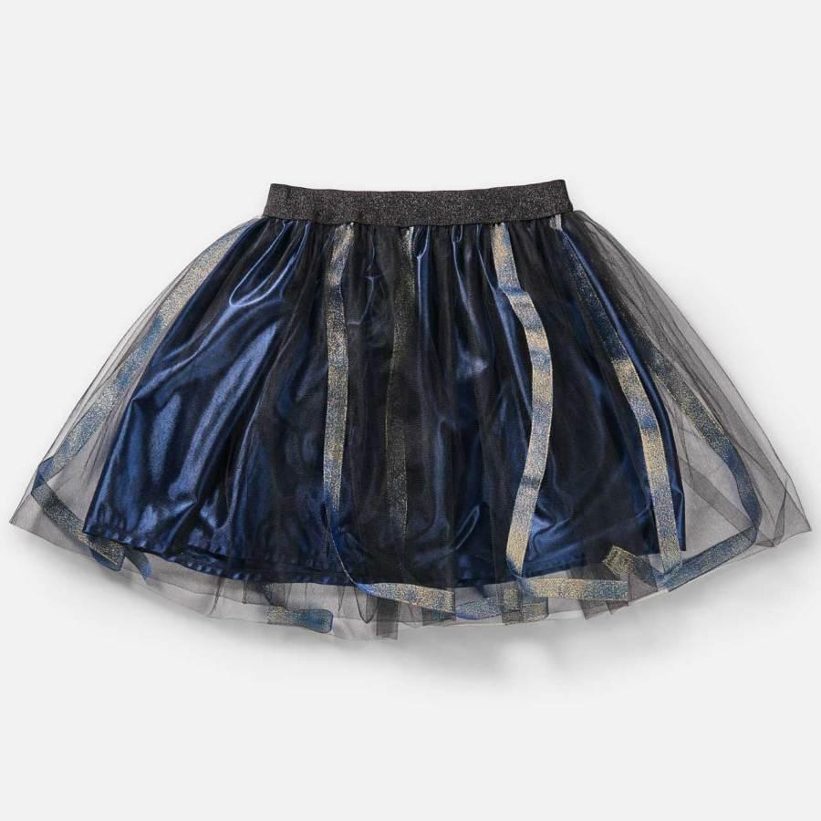 Jupe Angèle-Esprit Celtique-bleu à ruban bleu