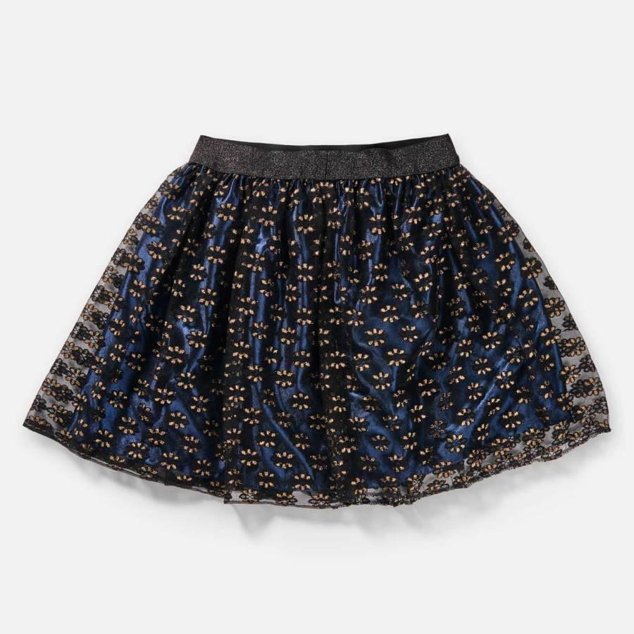 Jupe Angèle-Esprit Celtique-dentelle noire et fleurs dorées doublée bleu marine