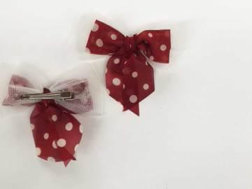 Barrette noeud rouge à pois blancs