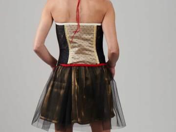 Bustier doré en soie et plumetis dos, porté avec la Jupe Angèle