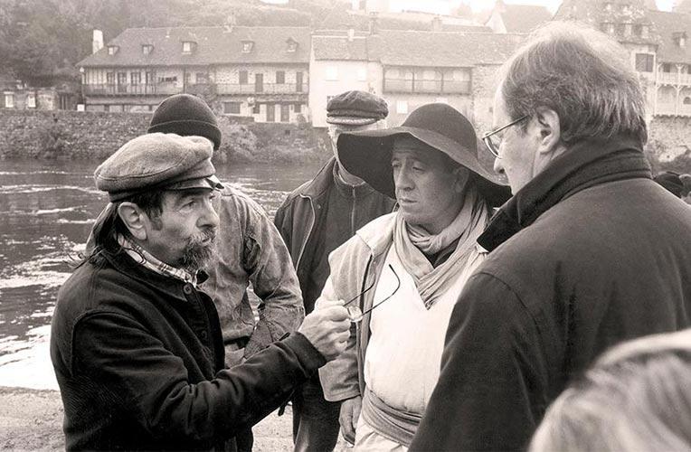 Max Maïola, Michel Denys et Christian Signol juste avant le départ, Argentat, 28 novembre 2000