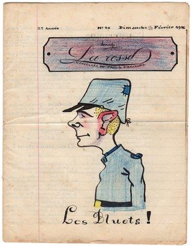 La couverture du numéro 10 de « La Rosse», journal de poilus de la Grande Guerre