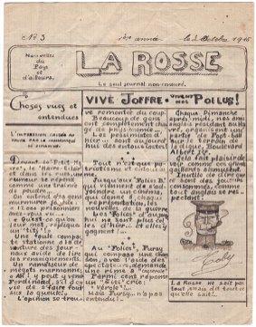 La couverture du numéro 3 de « La Rosse», journal de poilus de la Grande Guerre