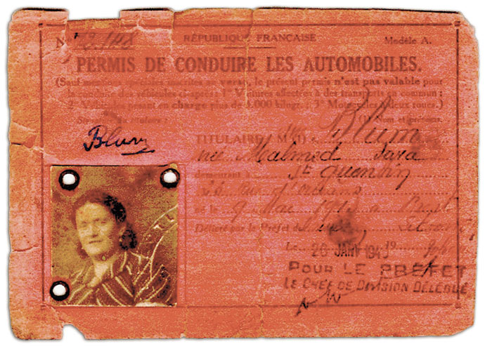 Permis de conduire de «Blum, née Malmed Sara», Saint-Quentin (Aisne), 26 janvier 1940, coll. privée.
