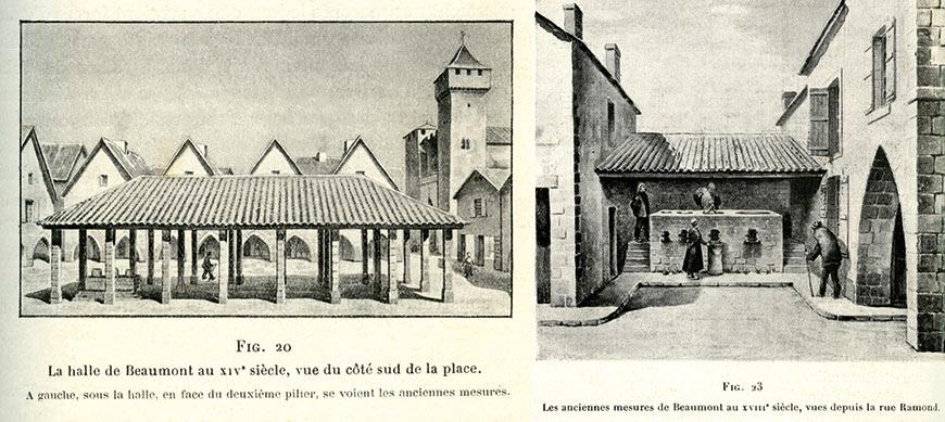 Gravures de la Halle de Beaumont-du-Périgord