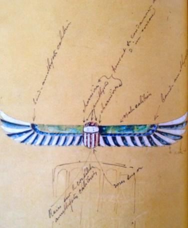 Dessin de René Lalique vers 1880-1910 Pectoral égyptien hanneton ailes ouvertes.