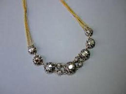"""Collier """"rivière""""Diamants Or et Argent"""