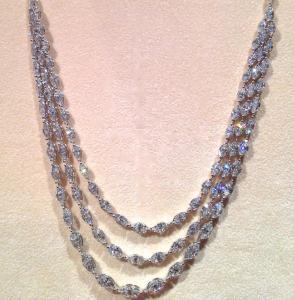 Coliier Platine 3 rangs de Diamants Navettes