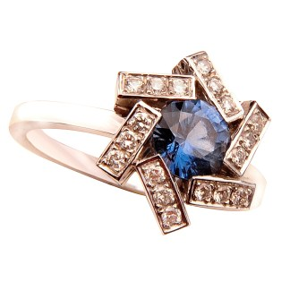TIBER Bague Or, Spinelle Bleu, Diamants Crédit MCM
