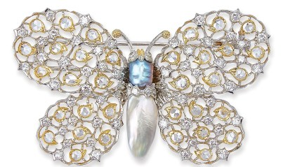 Gianmaria Buccellati. Broche Papillon, Or, Perles et Diamants. 1998.