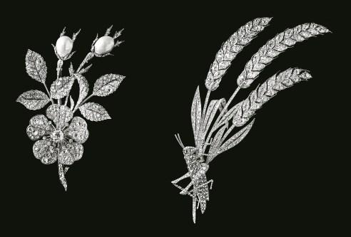 Broches Églantine et Sauterelle sur gerbe de blé Platine, Diamants 1890 © Chaumet