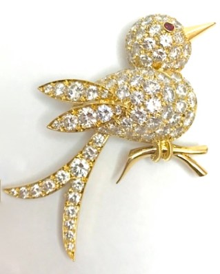 "Broche Van Cleef & Arpels ""Oiseau""1990. Diamants, Rubis, Or."