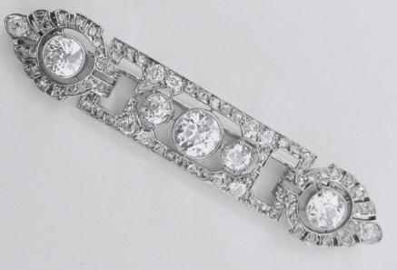 Broche Mauboussin Époque Art Déco Diamants, Platine.