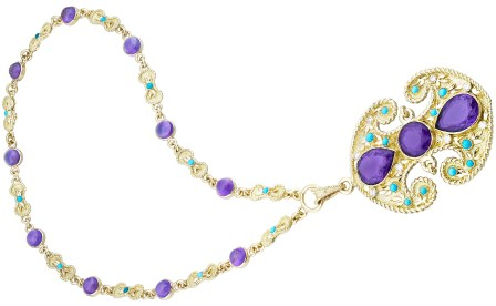 """Collier """"Byzance"""" Améthystes, Turquoises, Or. 1972. © Van Cleef & Arpels"""