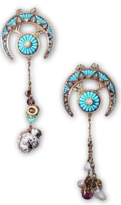 Éléments de parure de tête Or, Turquoises, pierres Fines et Perles. Georges Fouquet d'après Mucha. Vers 1900. © Wyrnal