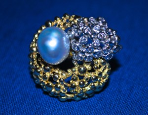 GILBERT ALBERT Bague  2 Ors, Diamants et Perle