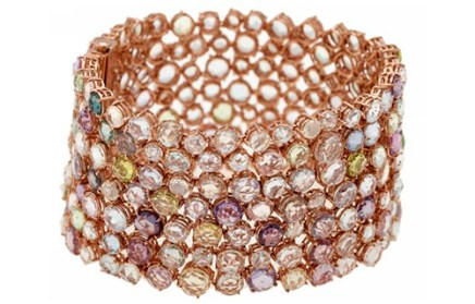 "Bracelet"" Shooting stars"" Diamants, Saphirs de couleurs, Or rose."