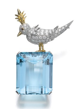 "Schlumberger pour Tiffany & Co Broche""Bird on the rock"" Aigue-marine, Diamants, Rubis"