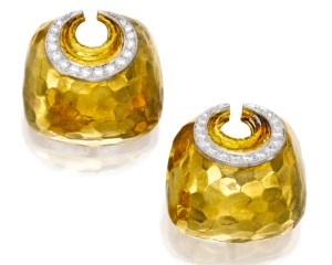 David Webb Boucles d'Oreilles, Or et Platine, Diamants