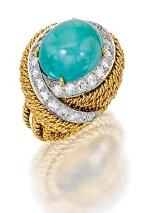 David Webb Bague Or, Platine,Turquoise,Diamants