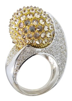 Bague Diamants, Diamants Cognacs, Or Blanc © Erik Schaix