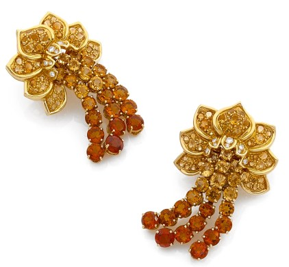 Clip d'Oreilles René Boivin Citrines, Diamants, Or 1940
