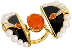 "Bague "" Oiseau de Feu"" Or, Diamants, Saphirs Orange, Perles, Jade Noir"