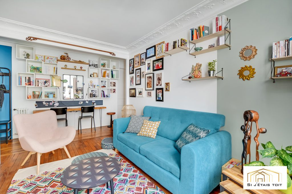 salon - canapé bleu