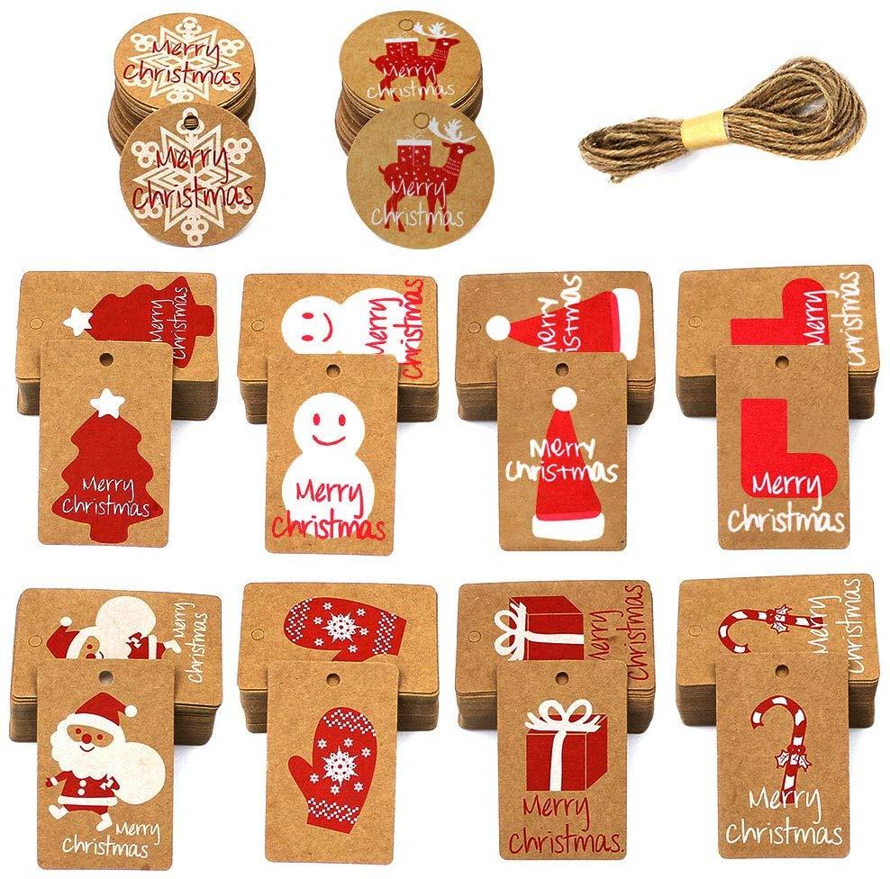 100 Papier Kraft Etiquettes Cadeaux noel Balise Gift Tags étiquettes en carton kraft avec la ficelle de ficelle de jute