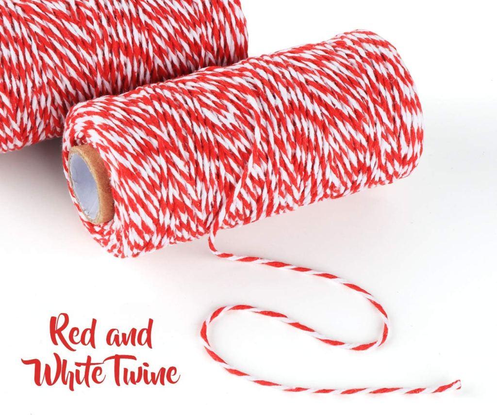 Corde de Noël rouge 2x100m Ficelle de Coton et Blanc Parfait pour Cadeau de Noël Ruban Cordon Ficelle,Pâtisserie,Jardinage...