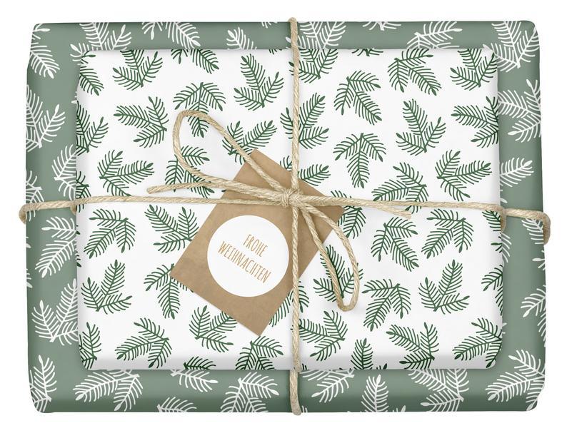 papier cadeau feuille verte