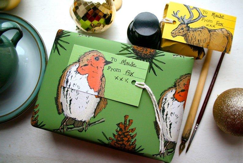 joli papier cadeau oiseau