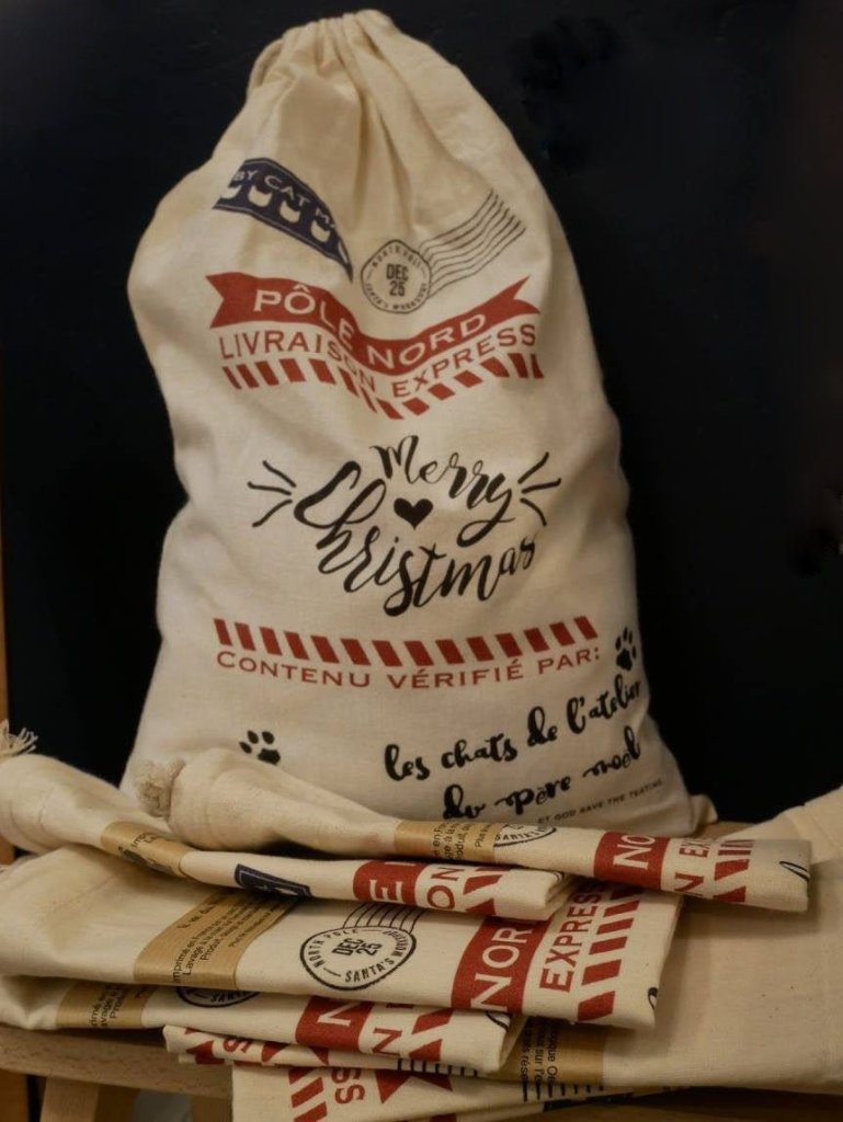 sac en tissu emballage cadeau de Noël