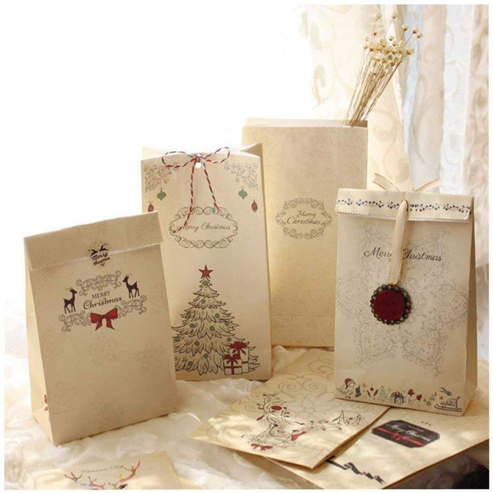 sacs-cadeaux de Noël Papier kraft Pochette Noël Cadeau Sac Noël