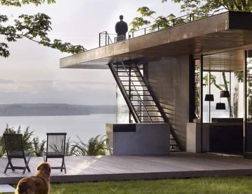 maison moderne ouverte sur la nature