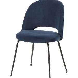 Chaise velours bleu foncé