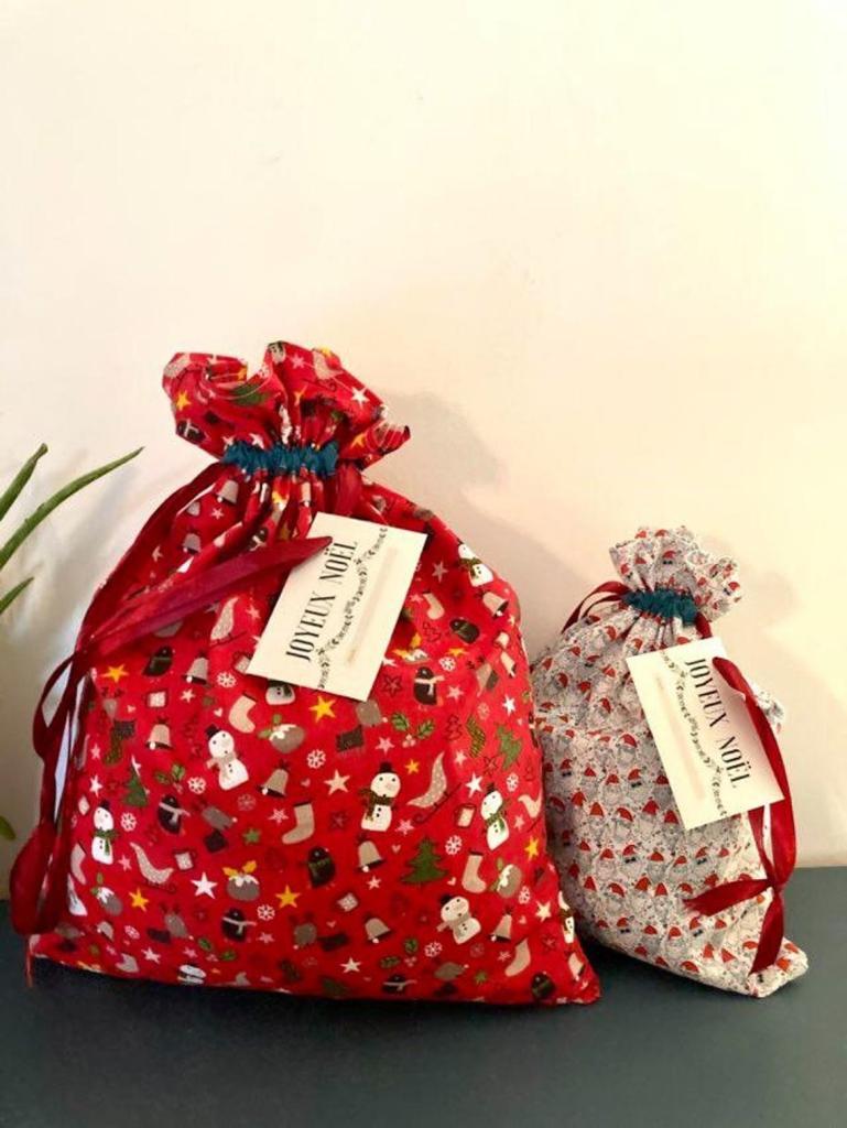 Sacs cadeaux de Noël en tissu