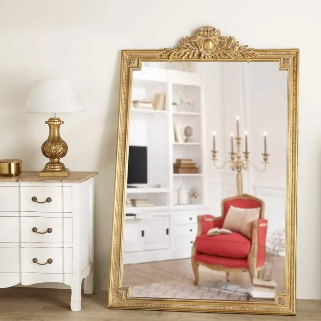 miroir moulures rectangulaire doré