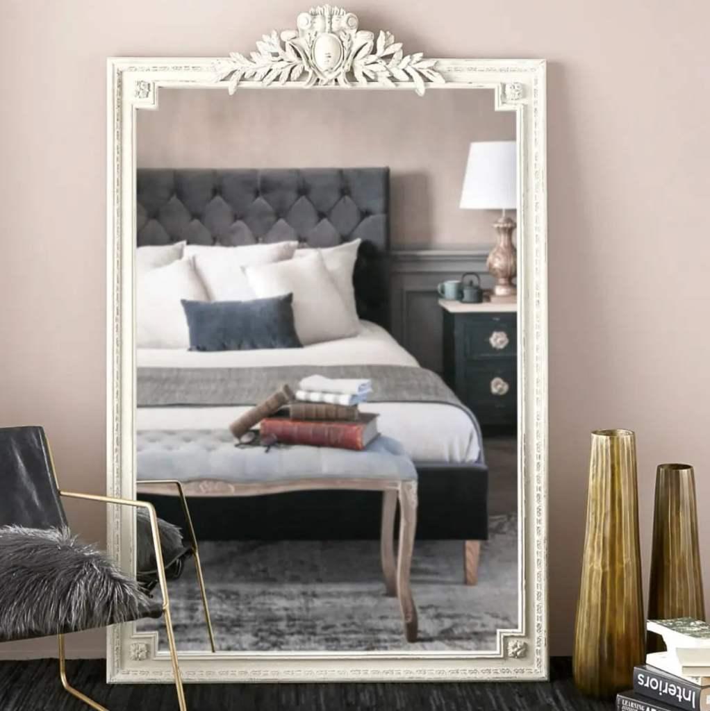 miroir moulures rectangulaire grand et blanc