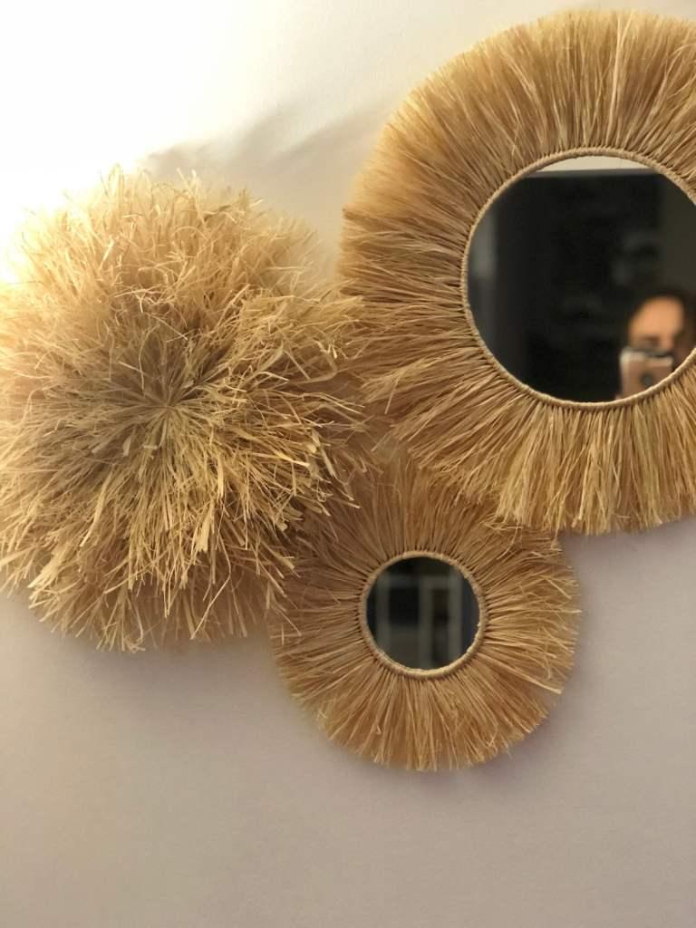 Miroir rond paille raphia - Unedecoapart