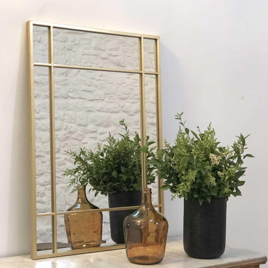 Miroir style Art Déco rectangulaire doré