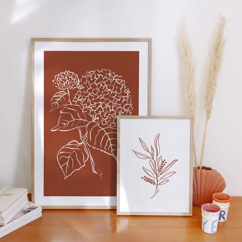 Affiche hortensia terracotta - Cotton Bird