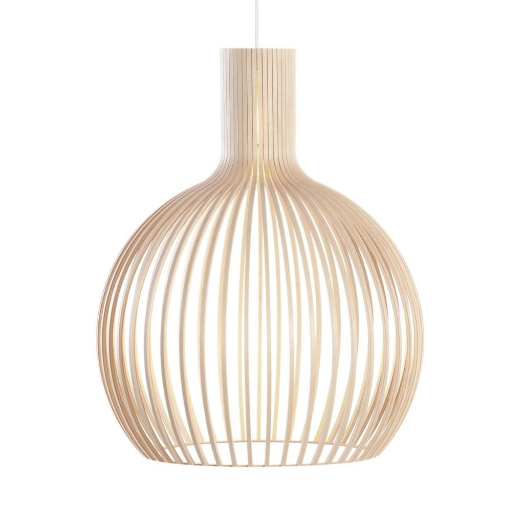 luminária pendente de design em madeira de estilo escandinavo na sala de estar
